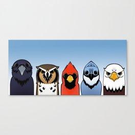 5 birds Canvas Print