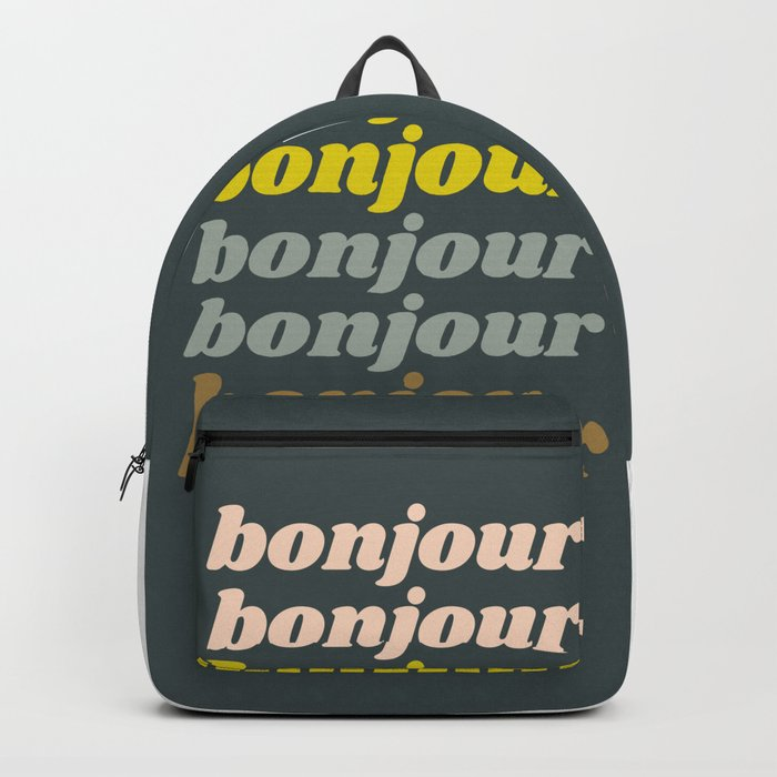 Bonjour in Pretty Pastels Backpack