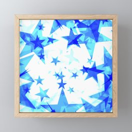 Glowing heavenly and blue stars on a light background in projection and with depth. Framed Mini Art Print