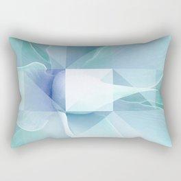 Soft Geo Agave - Aqua and blue Rectangular Pillow