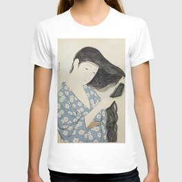 Woman in Blue Combing Her Hair - Hashiguchi Goyo T-shirt