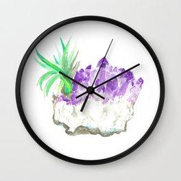 Amethyst Cluster Watercolor Wall Clock