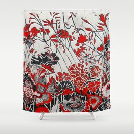Woodcut Flowers in Red Shower Curtain