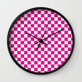 Pink Checkerboard Pattern Wall Clock