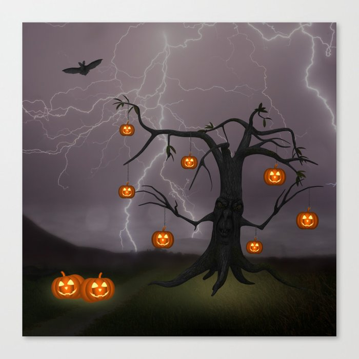 SCARY HALLOWEEN TREE Canvas Print