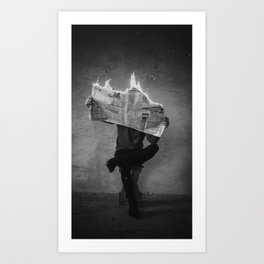 News on Fire (Baclk and White) Art Print