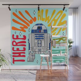 """""""There Will Always Be Hope - R2-D2"""" by Doodle by Meg Wall Mural"""