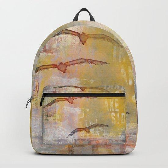Free bird mixed media artwork Sea Gulls and Typography Backpack