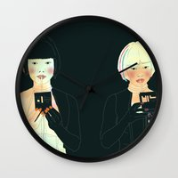 atlas Wall Clocks featuring CLOUD ATLAS by Itxaso Beistegui Illustrations