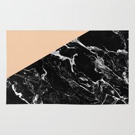 Modern elegant peach black marble color block Rug