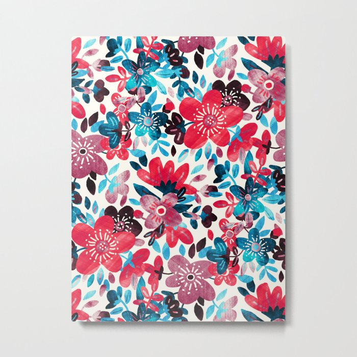Happy Red Flower Collage Metal Print