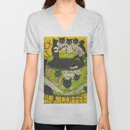Black Cat Black Coffee Unisex V-Neck