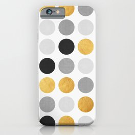 Gray and gold circles iPhone Case
