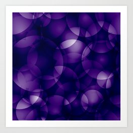 Dark intersecting blueberry translucent circles in bright colors with a mauve glow. Art Print