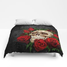 Sugar Skull with red rose iPhone 4 4s 5 5s 5c, ipod, ipad, pillow case and tshirt Comforters