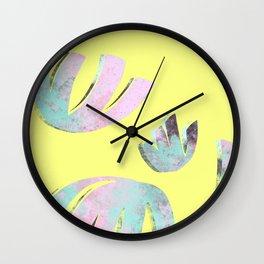 flora pattern no.1 / bright yellow Wall Clock