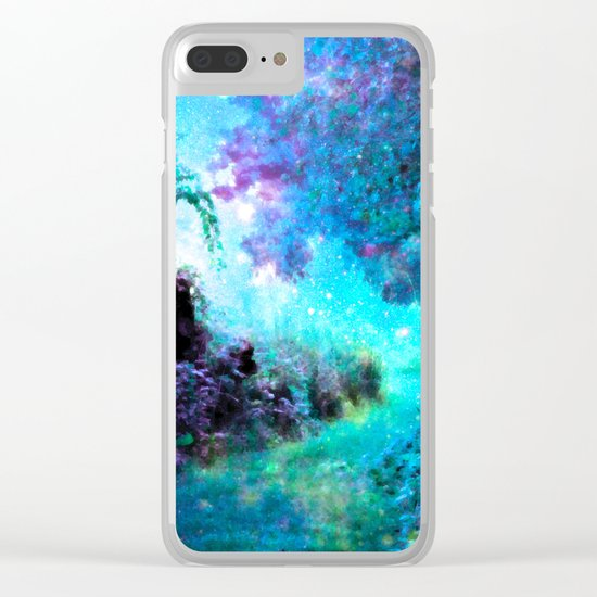 Fantasy Garden Path Turquoise Purple Clear iPhone Case