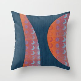 Digital Blue Denim and Glowing Orange Moon and Star Throw Pillow