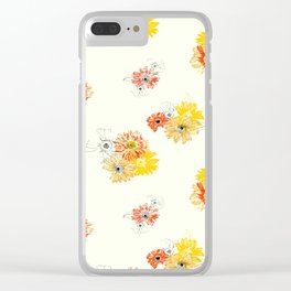 Sun Flowers Floral Pattern Clear iPhone Case