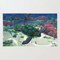 sea turtle Area & Throw Rugs featuring Sea Turtle by Simone Gatterwe