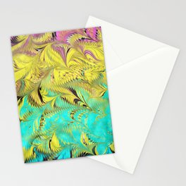 Rainbow Feather Water Marbling Stationery Cards