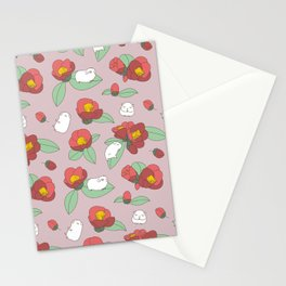 Japanese Camellia and Albino Guinea Pig Pattern Stationery Cards