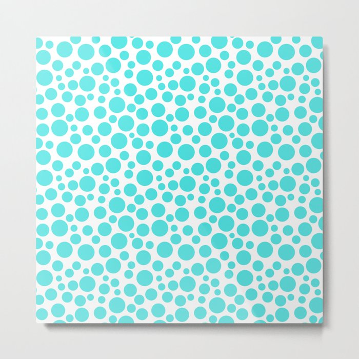 Turquoise polka dots on a white background . Metal Print