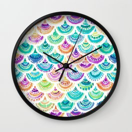 RAINBOW MERMACITA Colorful Mermaid Scales Wall Clock