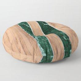 Striped Wood Grain Design - Green Granite #901 Floor Pillow