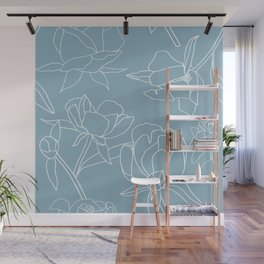 Roses, Line Drawing, White on Pale Blue Wall Mural
