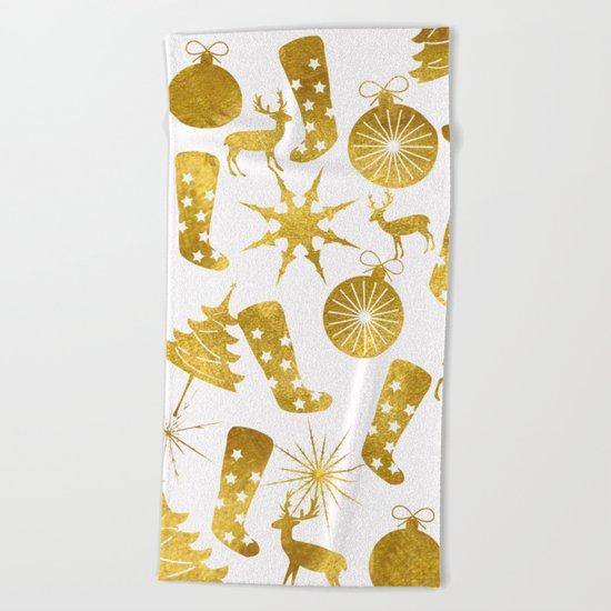 Gold Christmas 06 Beach Towel