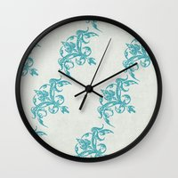 teal Wall Clocks featuring Teal by Juste Pixx Designs