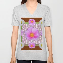 Coffee Brown Shasta Daisy Pink Roses Abstract Art Unisex V-Neck