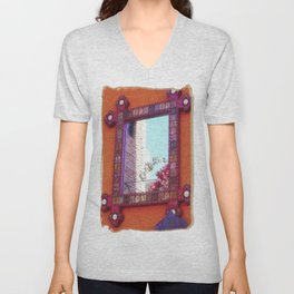 Reflection on a Mexican Wall Unisex V-Neck