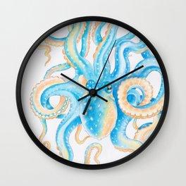 Octopus Blue Orange Watercolor Ink Art Wall Clock