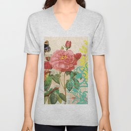A rose with a bird and a butterfly Unisex V-Neck