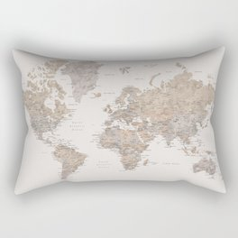 World map with cities in brown and light gray Rectangular Pillow