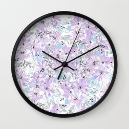 Elegant lavender pink watercolor hand painted floral Wall Clock