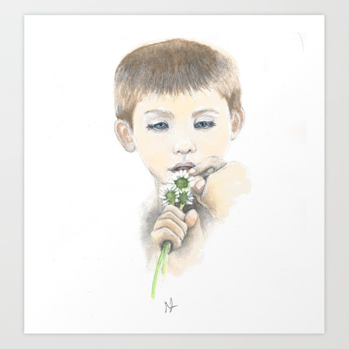Little Boy With Daisies Art Print by scarletwild