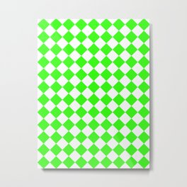 Diamonds - White and Neon Green Metal Print