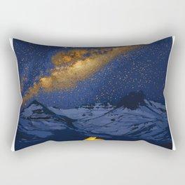 Glowing Tent Under Milky Way Rectangular Pillow