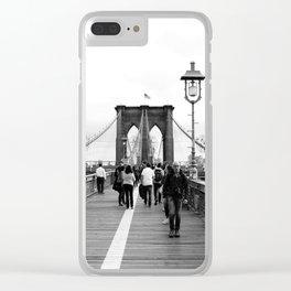 Walking the Brooklyn Bridge from Manhattan, New York Clear iPhone Case