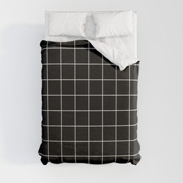 Grid Pattern Line Stripe Black and White Minimalist Geometric Stripes Lines Duvet Cover
