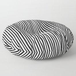 Skinny Stroke Vertical Black on Off White Floor Pillow