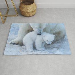 Polar Bear Mother and Cub portrait. Rug