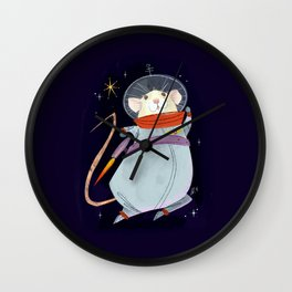 Astronaut Marty Mouse in Space Wall Clock