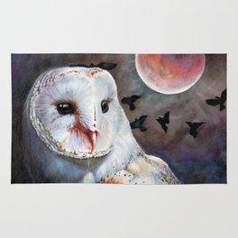 Owl Of The Blood Moon Heart Rug