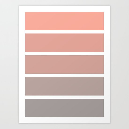 coral fade rectangles Art Print