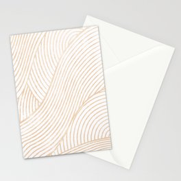 zen lines beige minimal pattern Stationery Cards
