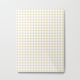 Small Diamonds - White and Pearl Brown Metal Print